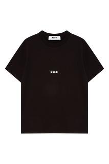 Черная футболка с контрастным логотипом Msgm