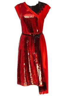 Красное комбинированное платье Marc Jacobs