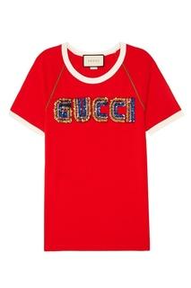 Красная футболка с пайетками Gucci