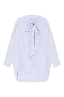 Голубая хлопковая рубашка в полоску Balenciaga