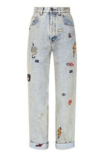 Серые джинсы с вышивкой Gucci