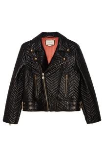 Кожаная куртка с косой молнией Gucci