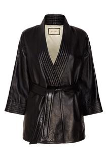 Кожаная куртка с поясом Gucci