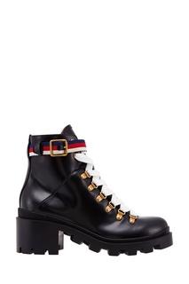 Кожаные ботинки на шнуровке Gucci
