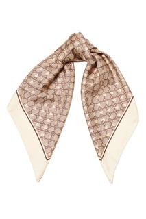Шелковый платок с монограммами Gucci