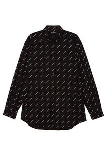 Черная рубашка с логотипами Balenciaga