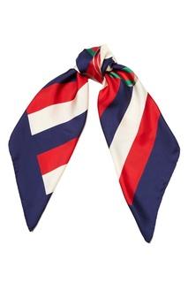 Шелковый платок в полоску с логотипом Gucci
