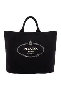 Черная текстильная сумка с логотипом Prada
