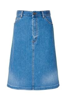 Джинсовая юбка с контрастной отделкой Gucci