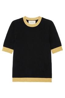 Черный джемпер с золотистой окантовкой Gucci