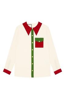 Блузка с контрастной отделкой Gucci