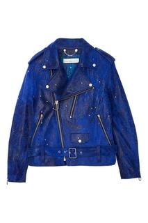 Синяя кожаная куртка Golden Goose Deluxe Brand