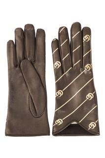 Кожаные перчатки с монограммами Gucci