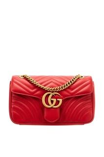 Стеганая красная сумка GG Marmont Gucci