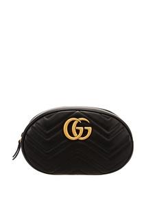 Черная сумка на пояс GG Marmont Gucci