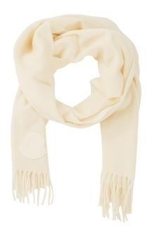Белый шерстяной шарф Moncler