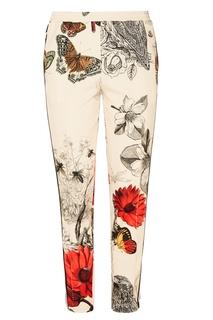Бежевые брюки с цветочным принтом Moncler