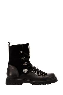 Черные ботинки из кожи Moncler