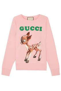 Розовый свитшот из хлопка Gucci