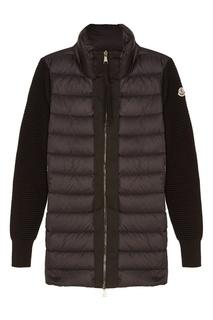 Черная куртка с вязаными рукавами Moncler