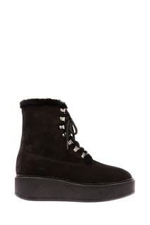 Черные ботинки с меховой отделкой Moncler
