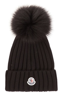 Черная вязаная шапка с помпоном Moncler