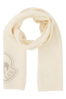 Белый шарф с логотипом Moncler