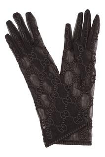 Шелковые перчатки с монограммами Gucci
