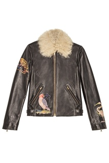 Кожаная куртка с мехом и вышивкой RED Valentino