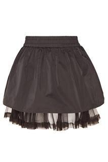 Черная мини-юбка с шелком RED Valentino