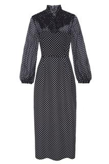 Черное платье-макси в горошек Valentino