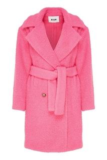 Розовое двубортное пальто Msgm