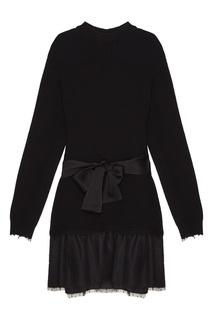 Черное вязаное платье с отделкой RED Valentino
