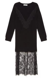 Черное платье с ажурной отделкой Valentino
