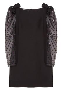 Черное платье с полупрозрачными рукавами Valentino