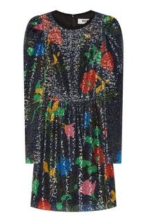 Платье с принтом и блестящей отделкой Msgm