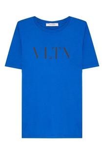 Синяя футболка с логотипом Valentino
