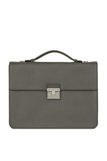 Серый кожаный портфель Furla
