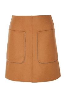 Коричневая юбка с накладными карманами No.21