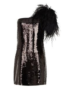 Асимметричное платье с перьями No.21