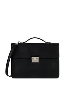 Черный кожаный портфель Furla