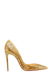 Золотистые туфли с ажурной отделкой Iriza 100 Christian Louboutin