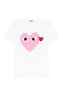 Белая футболка с розовым сердцем Comme Des Garcons Play