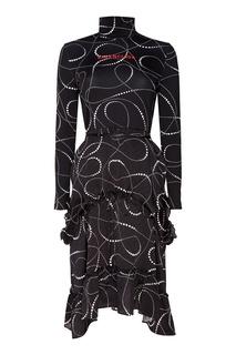 Черное платье с принтом и логотипом Balenciaga