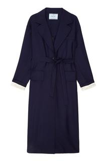 Синее пальто с поясом Prada