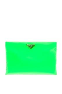 Текстильный клатч зеленого цвета Prada
