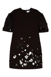 Мини-платье с вышивкой пайетками Msgm