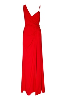Красное платье-макси с драпировкой Laroom