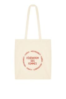 Бежевая сумка с красным принтом Kuraga