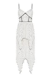 Белое платье с контрастными точками Self Portrait